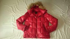 ★派手カッコいい赤リアルファーフード付き暖かダウンジャケット