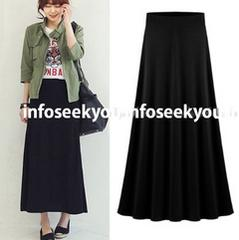 5L大きいサイズ/シンプルAラインロングスカート/黒