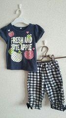 キッズ女の子*Tシャツ&チェックパンツ2点セット100