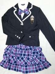 紺&ピンク パイピング ジャケット/ブラウス/スカート 160