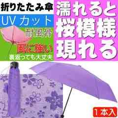 風に強い 折りたたみ傘 水に濡れると桜模様が現れる 江戸紫 Yu28