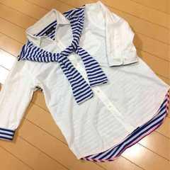 肩掛け風◆七分袖シャツ◆Lボーダー