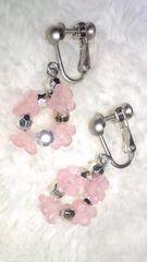姫森ガールピンクの小花イヤリング