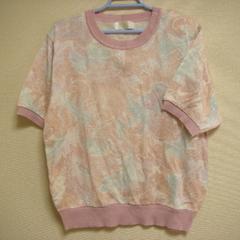 綺麗色 ピンク系 半袖 セーター ニット L