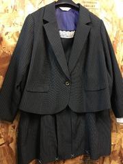 新品☆38号6L♪黒ストライプのミニスカートスーツ♪2万円を☆n623
