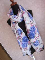 oneway/ワンウェイ/花柄ストール/ホワイト白パープル紫フラワー