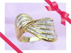【お買得】K18 1.50ct ダイヤモンド ゴージャスなリング 16号 r-270★dot