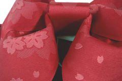 超簡単!子供用浴衣結び帯作り帯★赤系桜ゆかた