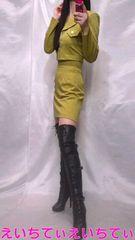 黄緑/ブラウン系 ミニミニチェック風 ビスチェヘソ出しOK 3点セット 美品♪�J