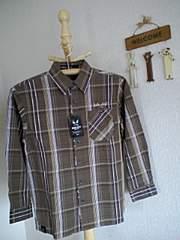 バッドボーイ新品ブラウンチェック長袖シャツ140
