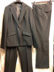 新品☆11号トールサイズ洗える2パンツスーツ黒ストライプb157