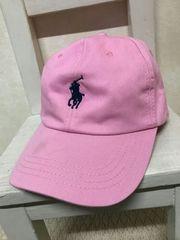 ラルフローレン/RALPH LAUREN 刺繍キャップ レザーベルト ピンク ポニー レア