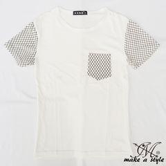 スリーブ&ポケット アーガイル プリント Tシャツ TEE 半袖 69L