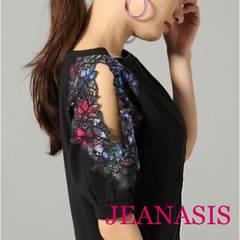 JEANASIS【美品】フラワーカットスリーブ Black