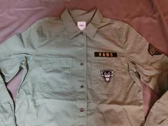 バンズ【VANS】ロゴ虎ワッペン付 アーミー風 ロングシャツUS L