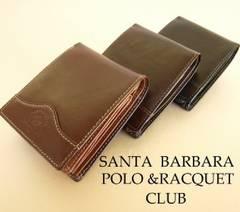【1058】サンタバーバラ・ポロ◆牛革ロゴマーク入り 折財布 黒