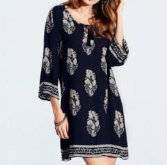 新品【7254】5XL(大きいサイズ)紺エスニックフラワープリントシャツ