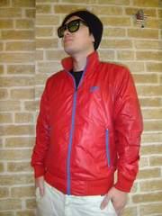 【NIKE】袖ゴツナイキプリント上質ナイロンジャケット赤×水色M♪ナイキ風車