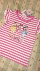 新品マジマジョピュアーズ!半袖 Tシャツトップスボーダーピンクラメプリント