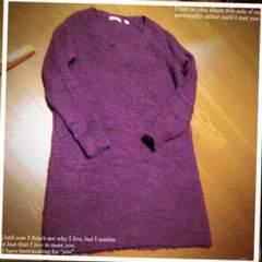 ★UNIQLOニットワンピ★あずき色に近い紫