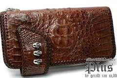 送料無料!クロコダイル3スカルコンチョ財布(シルバー、茶