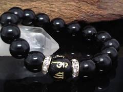 六字真言オニキス14ミリ§オニキス12ミリ金ロンデル数珠
