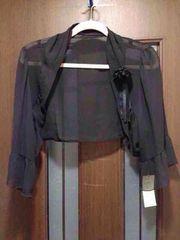 新品17-21号★黒のボレロ★フォーマル★コサージュ付き/袖フレア