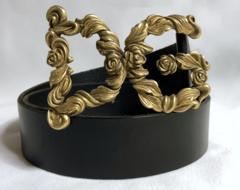 正規美 限定 ドルチェ&ガッバーナ DGロゴ ローズバックル ベルト黒 80 ドルガバ