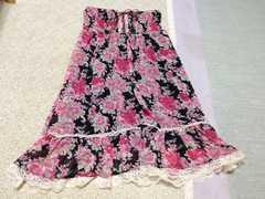 新品黒色ブラックピンク花柄ベアワンピース