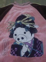 ★USED[ドラッグストアーズ]豚さん花魁 総刺繍 ベロア スカジャン風 アウター