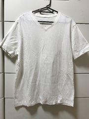 美品 無印良品 MUJI 無地Vネック 半袖Tシャツ メンズL ホワイト