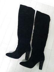 新品◆ANAP◆ヒールスタッズニーハイロングブーツ黒◆定価2万位