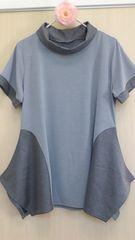 新品タグつき*異素材切替半袖チュニック M〜L 裾は個性的デザイン