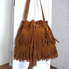 ブラウン フリンジ バッグ スエード 調 巾着 ショルダー バッグ