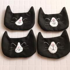 4匹の黒猫chanコースター★handmade