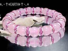 天然石★8ミリローズクォーツ紅水晶AAピンク銀ロンデル数珠