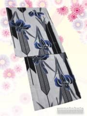 【和の志】女性用綿麻浴衣◇Fサイズ◇グレー系・矢絣◇MAF-54
