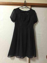 N049/セール/BLACKGALLERY/水玉/ブラック/膝丈ワンピ/
