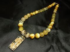 豪華数珠 浮彫龍水晶トップ&ゴールデンタイガー&ゴールドルチルネックレス