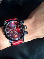 目を引く外観♪クールな赤★腕時計メンズ【CLUBFACE】