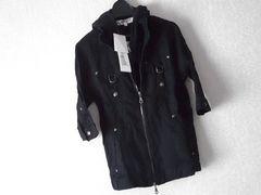 セール半額以下★フードレイヤード2WAYワッシャーシャツ 黒