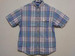 即決USA古着●鮮やかチェックデザイン半袖シャツ!アメカジ・ヴィンテージ
