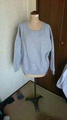 大きいサイズ暖か裏起毛トレーナーサイドジッパー3Lグレー