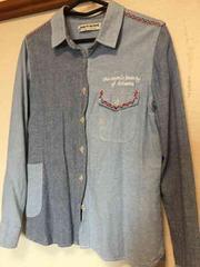 デニム風柔らかシャツ  刺繍 古着  レトロ