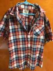 美品 半袖 チェックシャツ L