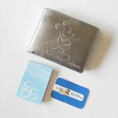 レアDisney ミッキーマウスメタル レザーワレット 2つ折り財布新品
