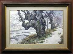 絵画 水彩 ブライアン・ウィリアムズ『雪景』12号 真作保証