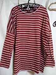 DAILY BASIC洋服長袖ボーダー柄、赤色、Lサイズ