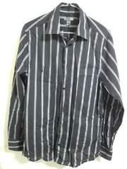 H&M 黒薄手ストライプシャツ