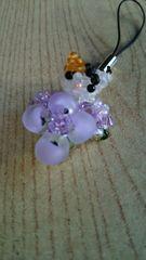 みけねこ紫陽花ストラップ オリジナル ハンドメイド 猫 ネコ